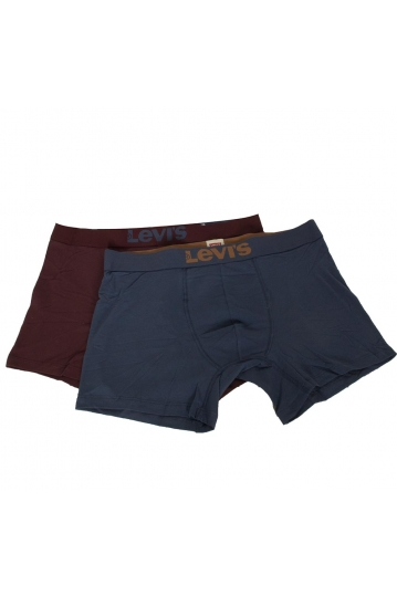 Levi's® solid basic boxer bordeaux-blue 2-pack