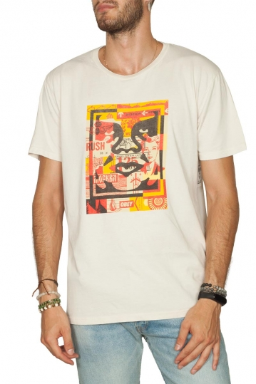 Obey 3 Face collage superior t-shirt cream