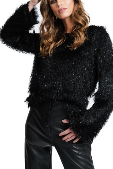 Rut and Circle fluffy glitter top black Vilda