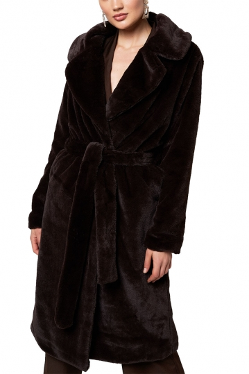Rut and Circle faux fur coat dark brown - Sofia