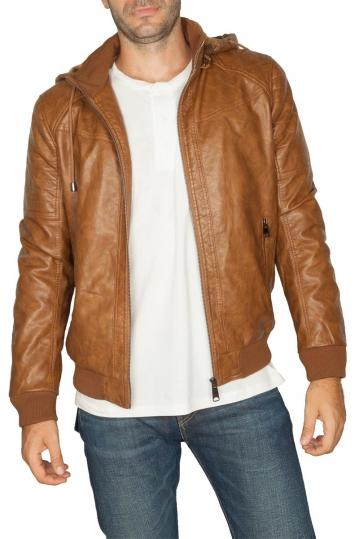 Faux-leather men's hooded jacket camel