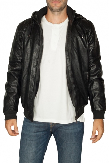 Faux-leather men's hooded jacket black