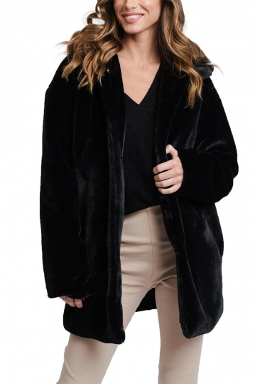 Rut and Circle faux fur coat black - Tanja