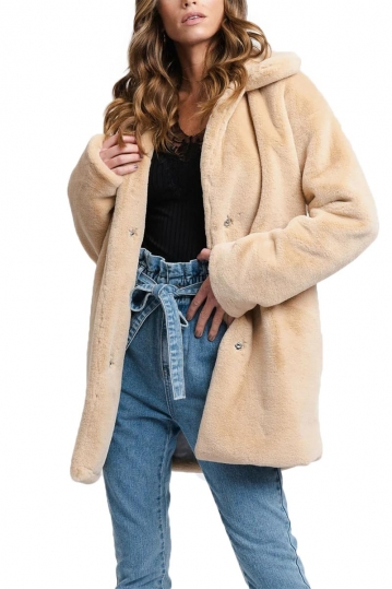 Rut and Circle faux fur coat beige - Tanja
