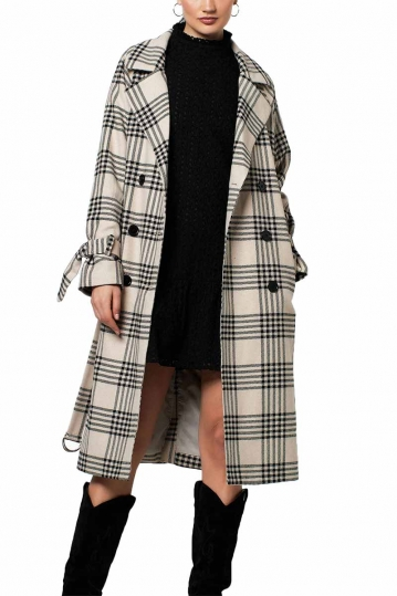Rut and Circle coat light beige check - Cassandra