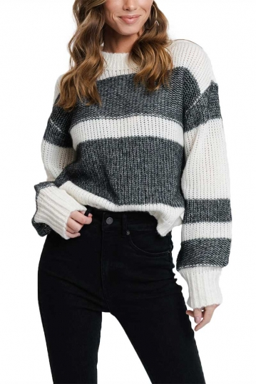 Rut & Circle Nora striped knit black/white