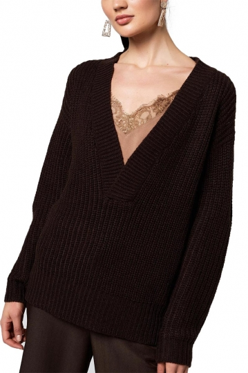 Rut & Circle Melody V-neck knit dark brown