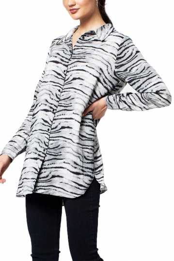 Rut & Circle Mary oversize shirt grey tiger
