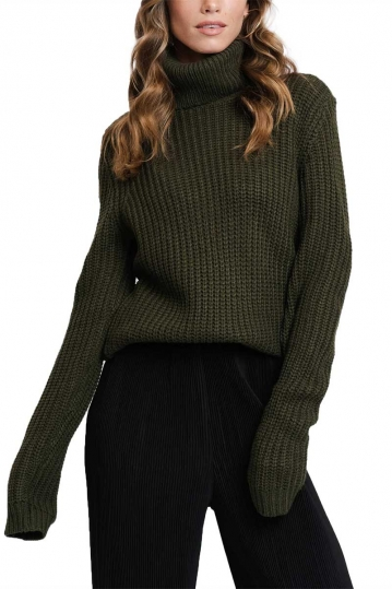 Rut & Circle Tinelle roll neck knit sweater army green