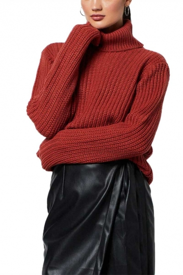 Rut & Circle Tinelle roll neck knit sweater rust