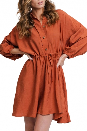 Rut & Circle Melissa drawstring dress rust