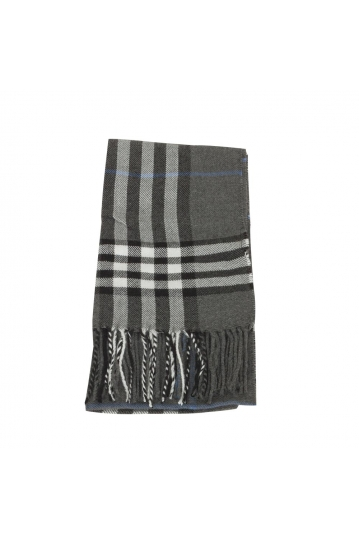 Men's tartan scarf dark grey