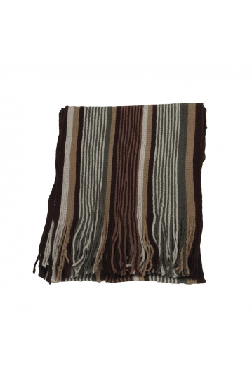 Men's striped scarf brown