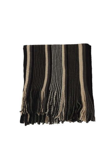 Men's striped scarf black