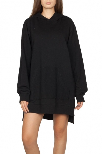 Noah hooded sweat dress black - Alexandra