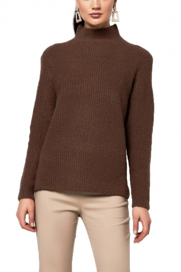 Rut & Circle Marielle mock neck knit brown