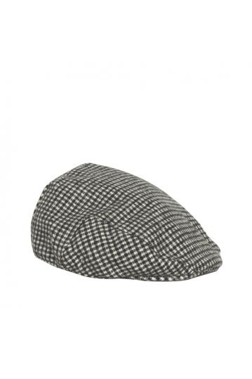 Wool flat cap tweed black & white