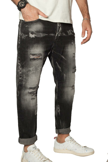 Men's slim fit destroyed jeans