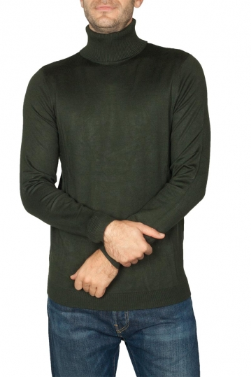 Men's roll neck sweater olive