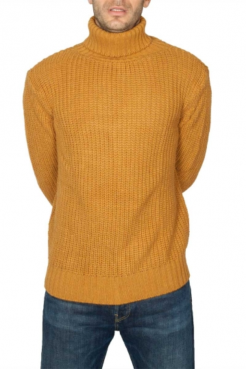 Men's roll neck sweater mustard