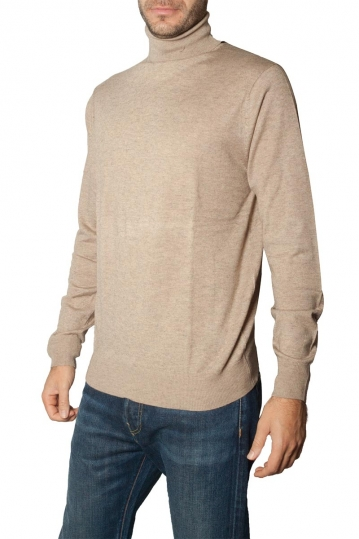 Men's roll neck sweater beige