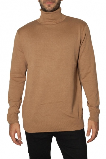 Brave Soul roll neck sweater beige