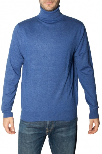 Men's roll neck sweater blue