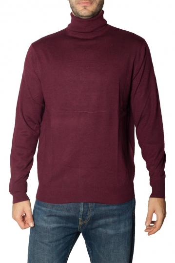 Men's roll neck sweater bordeaux