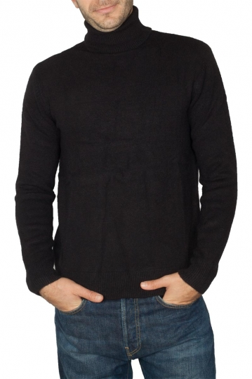Men's roll neck sweater black