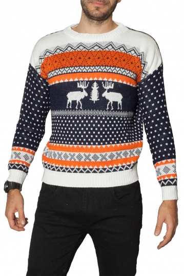 Reindeer christmas jumper navy/orange