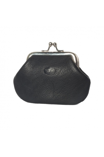 Women's leather kiss lock coin purse black
