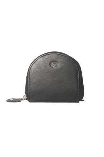 Leather coin purse black with zip closure