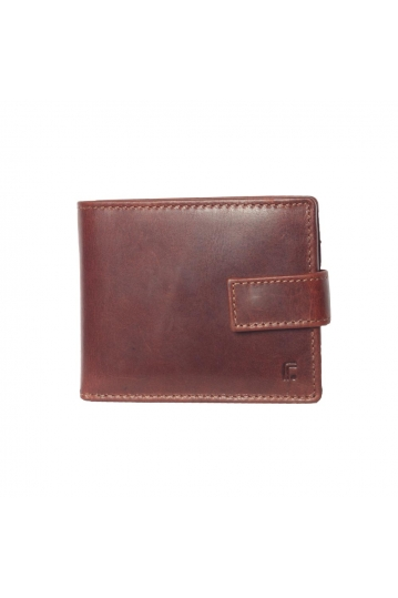 Men's leather button closure wallet brown - RFID
