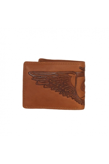 Hill Burry men's leather RFID wallet with eagle embossed