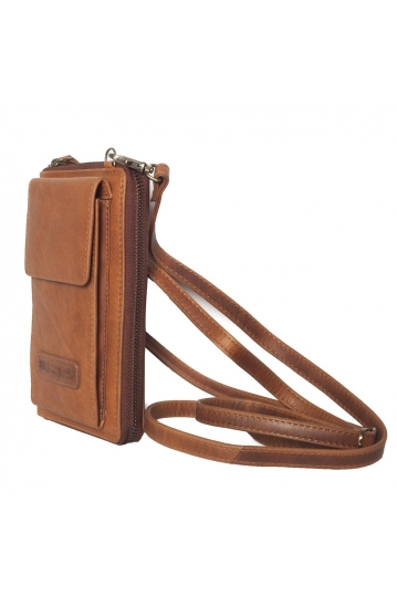Hill Burry cross body leather wallet brown - RFID