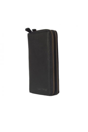 Hill Burry double zip leather clutch wallet black - RFID
