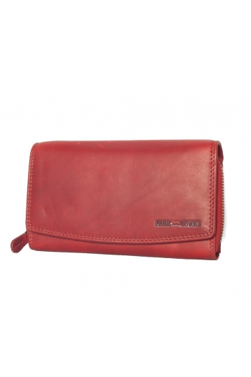 Hill Burry leather clutch wallet red - RFID