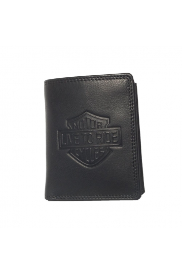 Hill Burry leather wallet Live to ride black - RFID