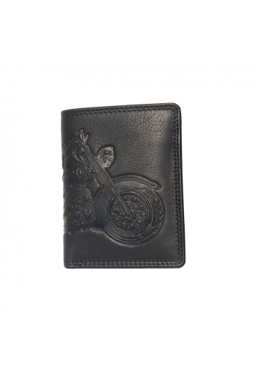 Hill Burry leather wallet motorcycle embossed black - RFID