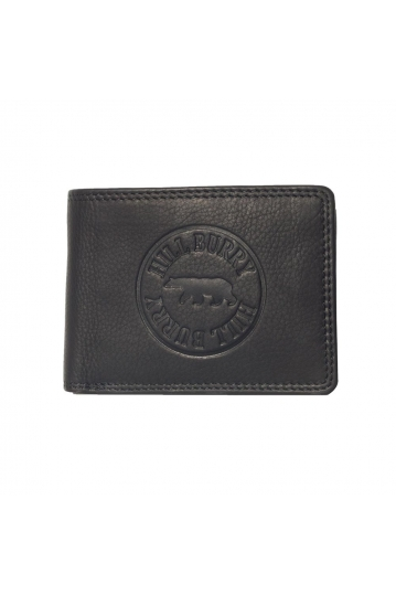Hill Burry leather wallet logo embossed black - RFID