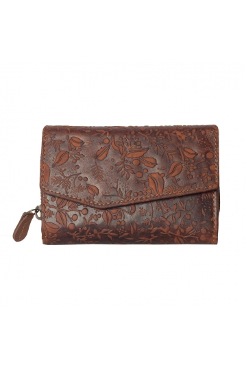 Hill Burry embossed leather wallet brown - RFID
