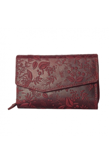 Hill Burry embossed leather wallet red - RFID