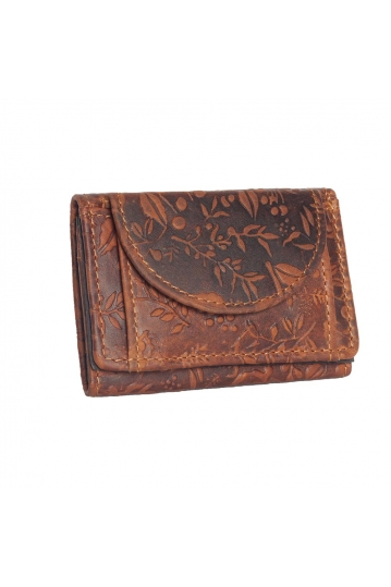 Hill Burry embossed leather small wallet brown - RFID
