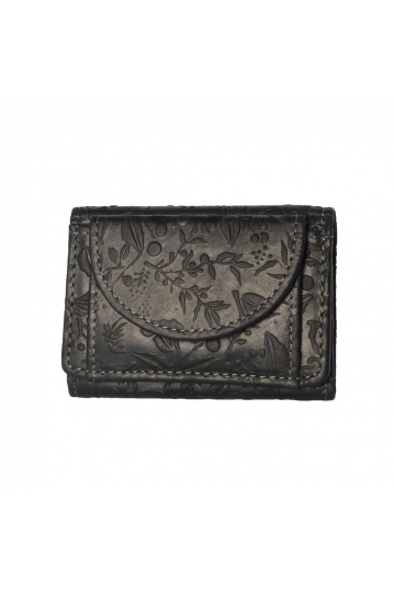 Hill Burry embossed leather small wallet black - RFID