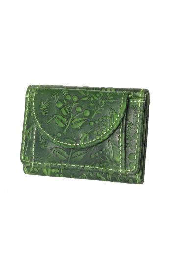 Hill Burry embossed leather small wallet green - RFID