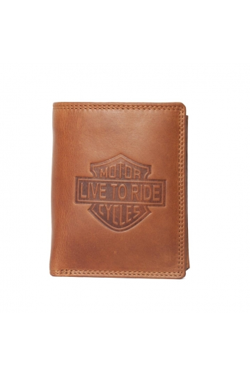 Hill Burry leather wallet Live to ride brown - RFID