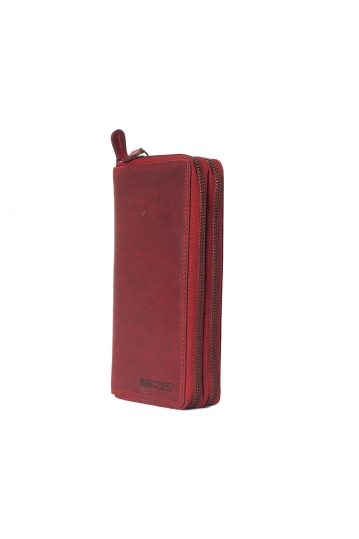 Hill Burry double zip leather wallet red - RFID