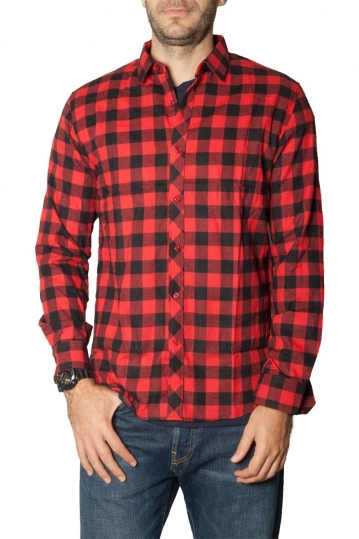 Men's flannel shirt red check