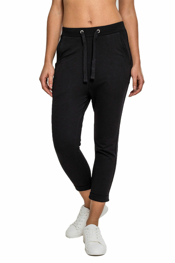 Urban Classics terry turn up pants black