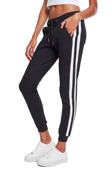 Urban Classics joggers black with white side stripe